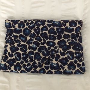 Blue Leopard Print Envelope Clutch/Crossbody